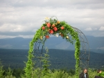 Arch with orange flowers