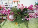 King protea and dendrobiums