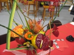 Bellpeppers and flower centerpiece