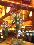 Casino entrance flowers