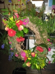 Wreath with clusters of vibrant flowers