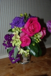 Mini cascading bouquet in purple, pink and green