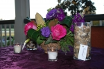 Purple, pink and green centerpiece