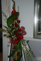 Red standing arrangement