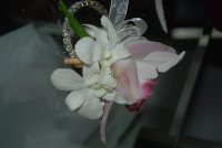 Rhinestone wrist corsage with white and pink orchids