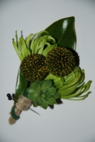Whimsical green boutonniere