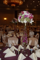 Ceremony flowers in shades of pink, white and purple
