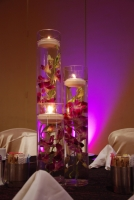 Submerged orchids with floating candles